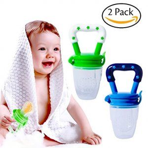 Hibery 2Pcs Baby Food Feeder, Baby Feeder Pacifier, Baby Fruit Net, Fresh Food Feeding Pacifier, Fruit Teether, Silicone Feeder With Fresh Fruits as Munchkin Fresh Food Feeder