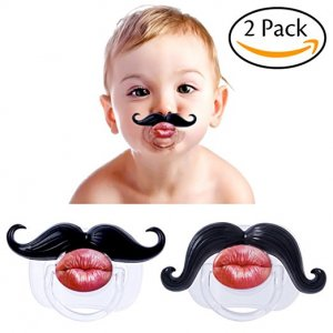 Hibery 2Pcs Pacifier for Newborn Toddler Soft Silicone, Funny Gentleman Mustache Funny Pacifiers, Baby Handlebar Mustache Pacifier, Funny Lip Pacifiers for Newborn, Cute Kissable Mustache Pacifier Hibery