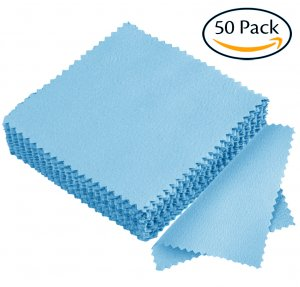 Hibery Jewelry Cleaning Cloth Sterling Silver Polishing Cloth for Jewelry Gold Platinum - Set of 50, Light Blue